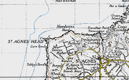 Old map of New Downs in 1946