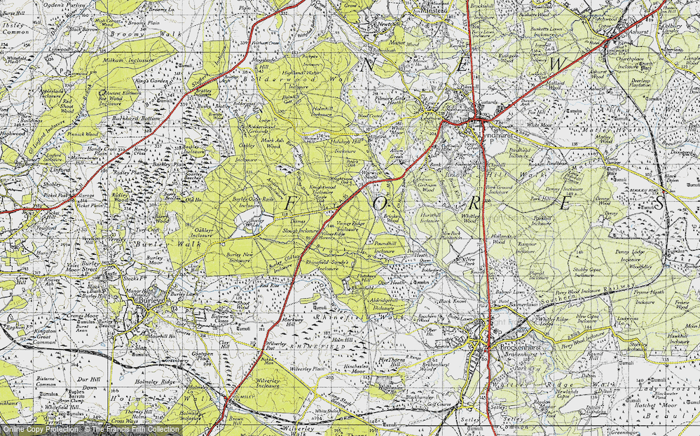 Old Map of Historic Map covering Wooson's Hill Inclosure in 1940