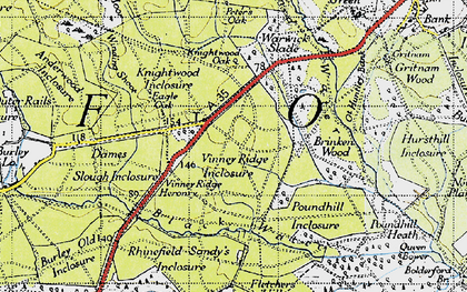 Old map of Wooson's Hill Inclosure in 1940
