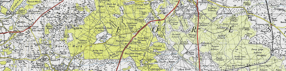 Old map of Winding Shoot in 1940