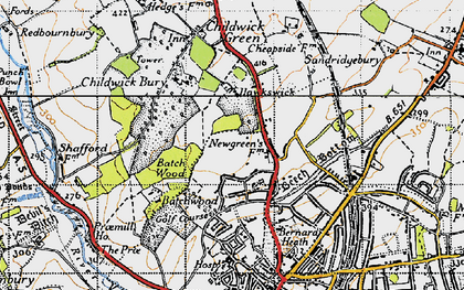 Old map of New Greens in 1946