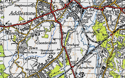 Old map of New Haw in 1940