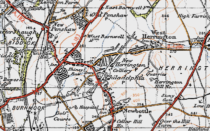 Old map of New Herrington in 1947