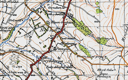 Old map of Afon Gilwydeth in 1947