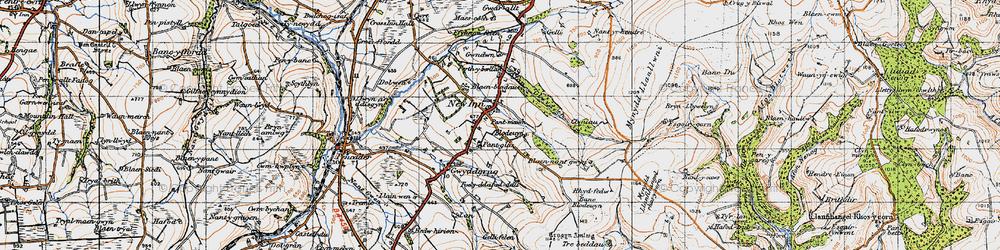 Old map of Afon Gilwydeth in 1947
