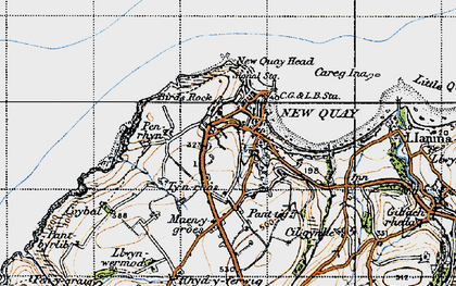 Old map of New Quay in 1947