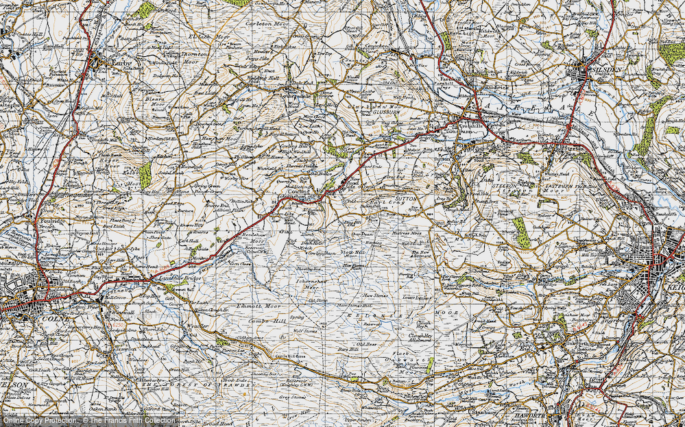 Old Map of Historic Map covering Bare Hill in 1947