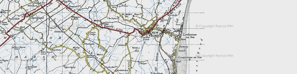 Old map of New Romney in 1940