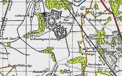 Old map of New Rossington in 1947