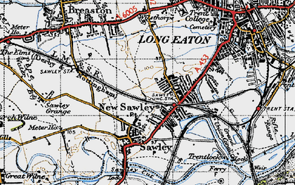 Old map of New Sawley in 1946