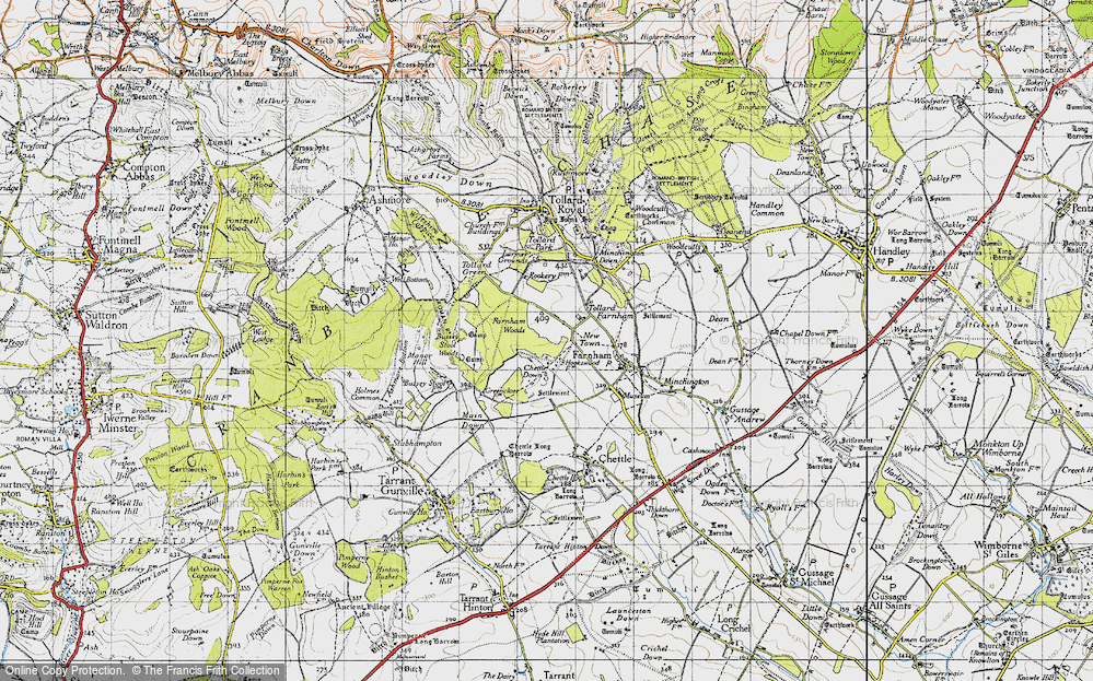 Old Map of Historic Map covering Larmer Tree Gdns in 1940