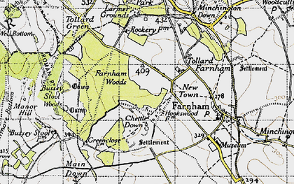 Old map of Larmer Tree Gdns in 1940