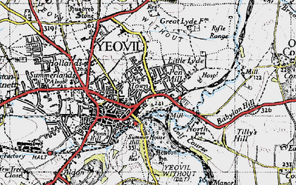 Old map of Tilly's Hill in 1945