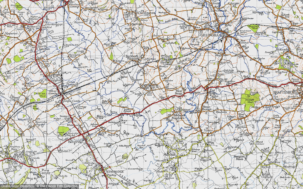 Old Map of Historic Map covering Havering in 1945