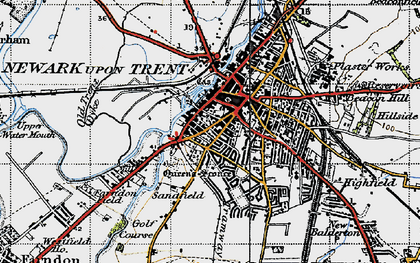 Old map of Newark-on-Trent in 1946
