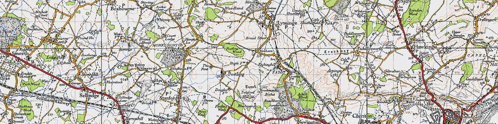 Old map of Tolsford Hill in 1947