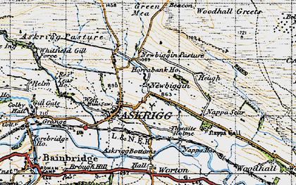Old map of Newbiggin in 1947