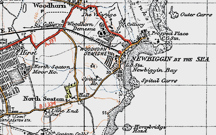 Old map of Newbiggin-by-the-Sea in 1947