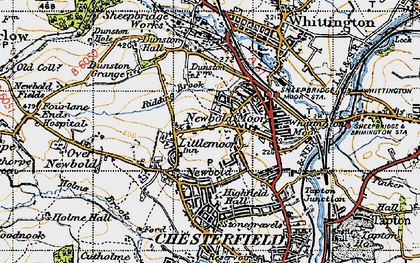 Old map of Newbold in 1947