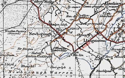 Old map of Newborough in 1947