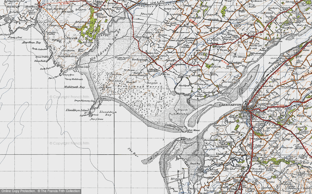 Old Map of Historic Map covering Abermenai Point in 1947