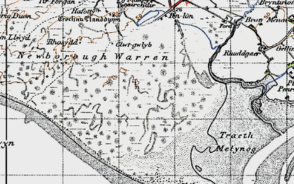 Old map of Abermenai Point in 1947