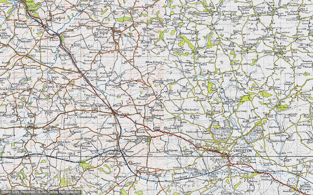 Old Map of Historic Map covering Bagborough in 1946