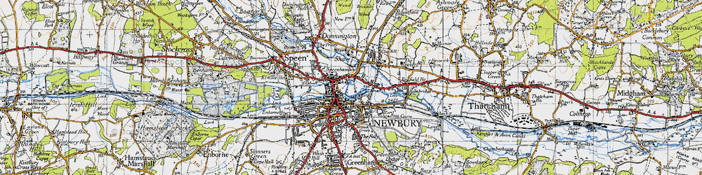 Old map of Newbury in 1945