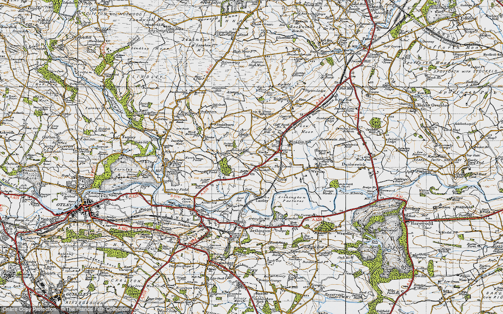 Old Map of Historic Map covering Bailey's Whins in 1947