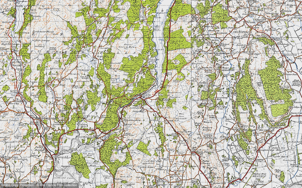 Old Map of Historic Map covering Line Riggs in 1947