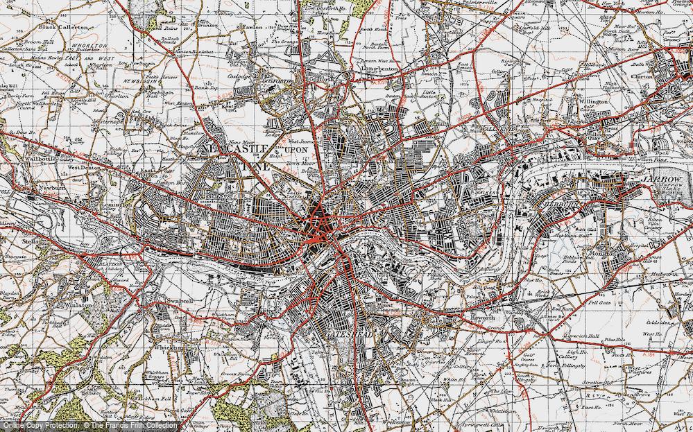 Map Of Newcastle Upon Tyne Map of Newcastle upon Tyne, 1947   Francis Frith
