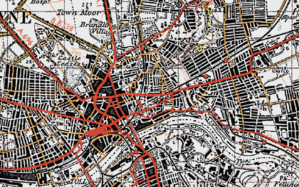 Old map of Newcastle upon Tyne in 1947