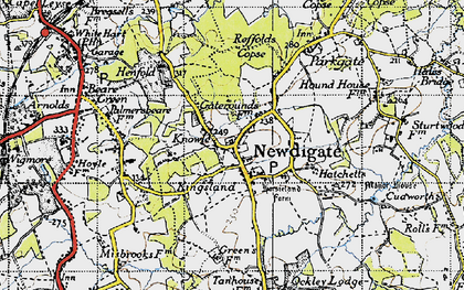 Old map of Newdigate in 1940