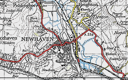 Old map of Newhaven in 1940