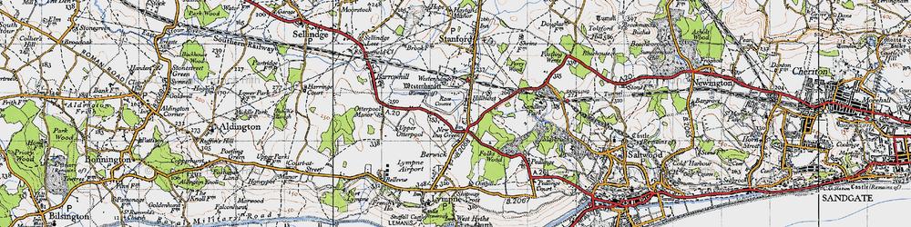 Old map of Westenhanger Castle in 1947