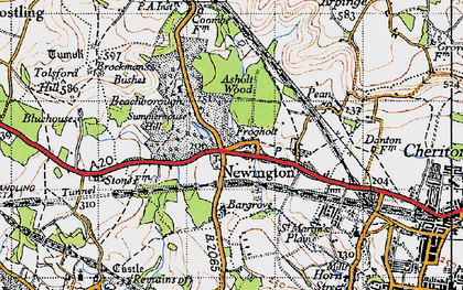Old map of Newington in 1947