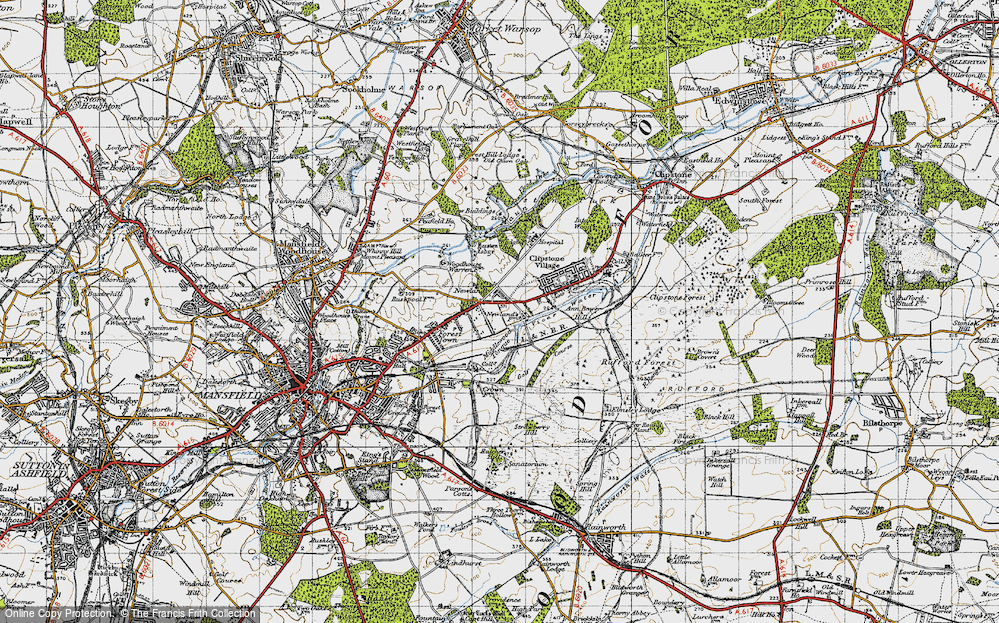 Old Map of Historic Map covering Badger Hill in 1947