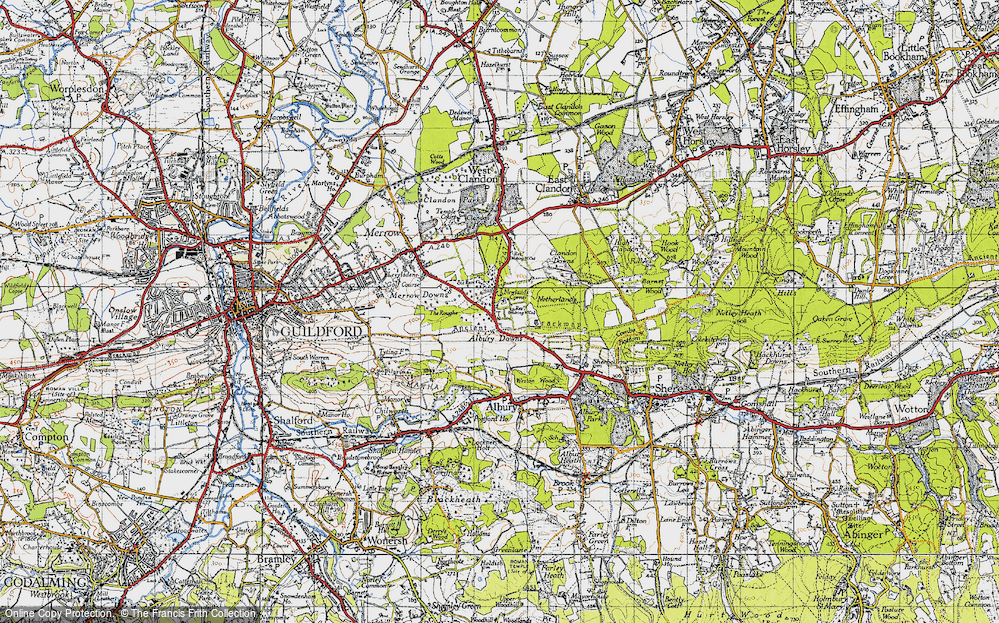 Old Map of Historic Map covering Albury Downs in 1940