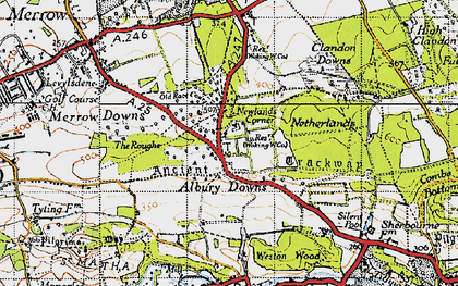 Old map of Albury Downs in 1940