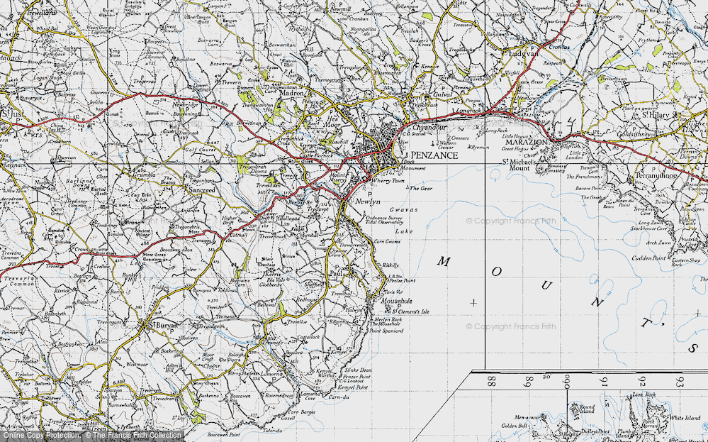 Old Map of Historic Map covering Tidal Observatory in 1946