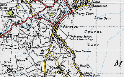 Old map of Newlyn in 1946