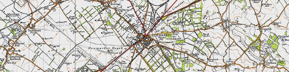 Old map of Newmarket in 1946
