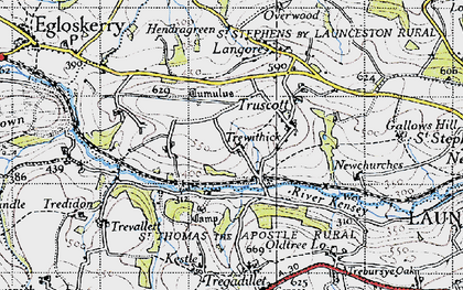 Old map of Newmills in 1946