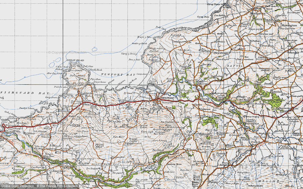 Old Map of Historic Map covering Afon Nyfer in 1947