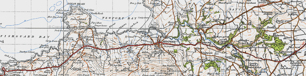 Old map of Afon Nyfer in 1947