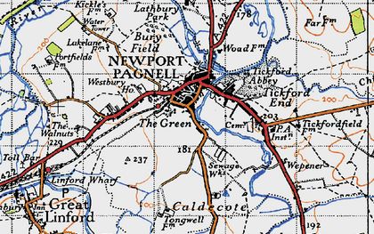 Old map of Newport Pagnell in 1946