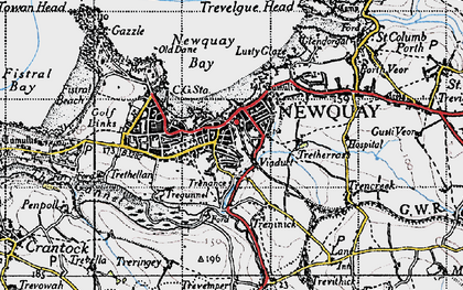 Old map of Newquay in 1946