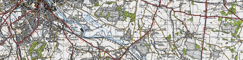 Old map of Leventhorpe Hall in 1947