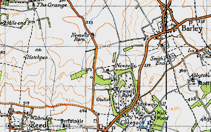 Old map of Whiteley Hill in 1946