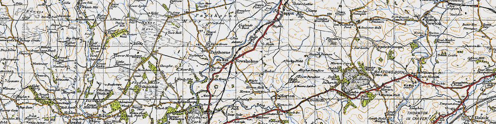 Old map of Adams in 1947